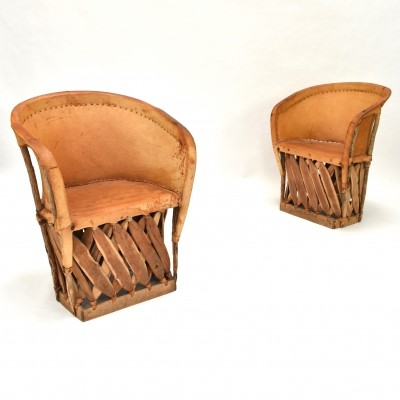 Pair of North / Native American chairs in leather & wood