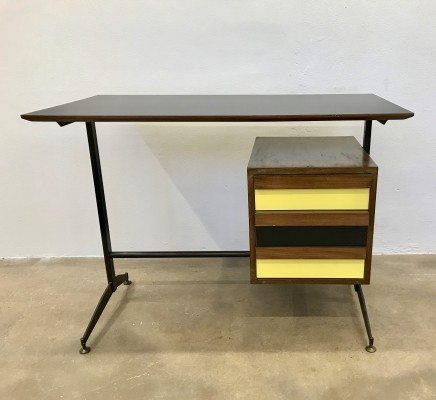 Small Italian Mid-Century Desk with Black & Yellow Drawers