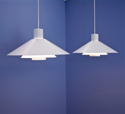 Set of 2 Danish 'Trapez' pendants in white by Christian Hvidt for Nordisk Solar