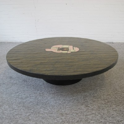Unique Brutalist Paul Kingma Brass Slate Artwork Coffee Table, 1980s