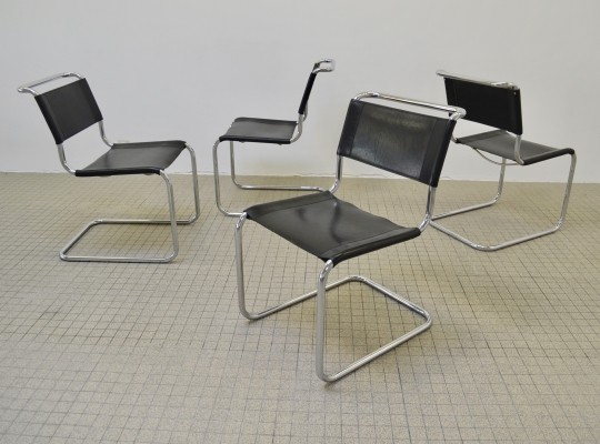 Vintage leather Thonet S33 dining chairs by Mart Stam, 1970s