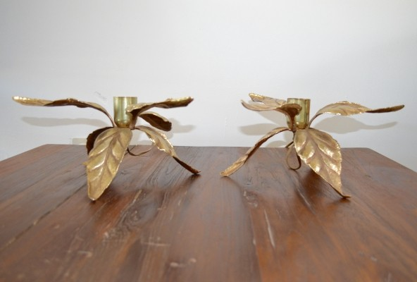Pair of Vintage hollywood regency gilded table lamps by Massive, 1980s
