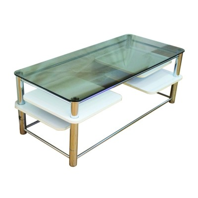Mid-Century coffee table with a smoked glass top & 4 pivoting shelves, France 1970s