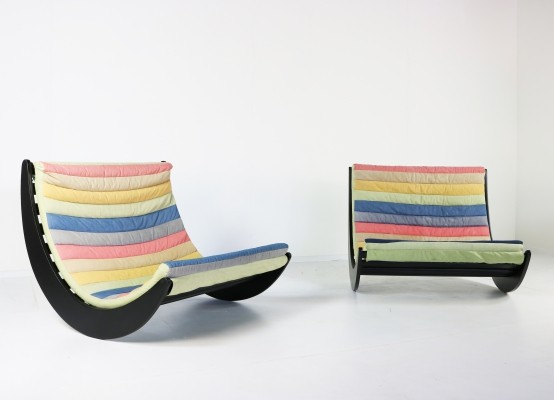 Pair of Relaxer II rocking chairs by Verner Panton for Rosental Studio Line Germany, 1970s