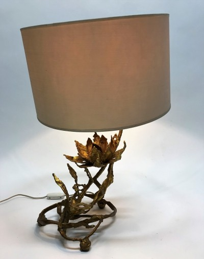 Brutalist lotus table lamp in brass signed by Moerenhout, 1970s