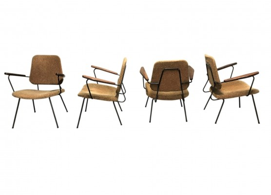 Set of 4 Vintage industrial lounge chairs, 1950s