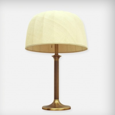 Huge Brass & Fabric Desk Lamp, 1970s