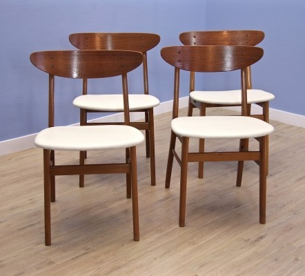 Set of 4 danish dining chairs by Farstrup in teak & off-white leatherette, 1960s