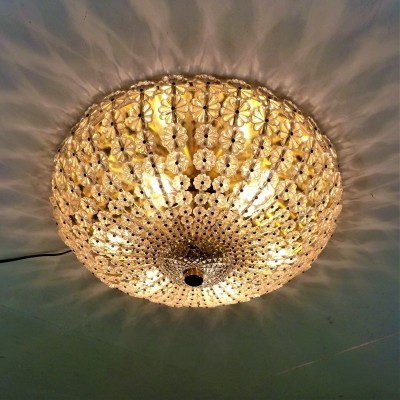 Ceiling Light with Glass Flowers & Brass, 1960's