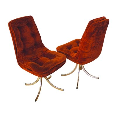 Pair of Swivel velvet chairs by Gastone Rinaldi for Rima, Italy 1970