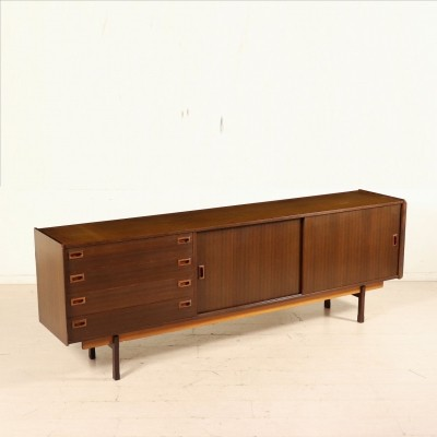 Rosewood Sideboard with Sliding doors & Drawers, Italy 1960s