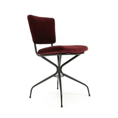 Metal & burgundi velvet chair, 1950s