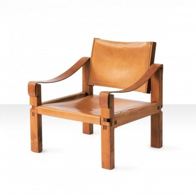 Pierre Chapo S10 Cognac Leather Easy Chair, France 1960s