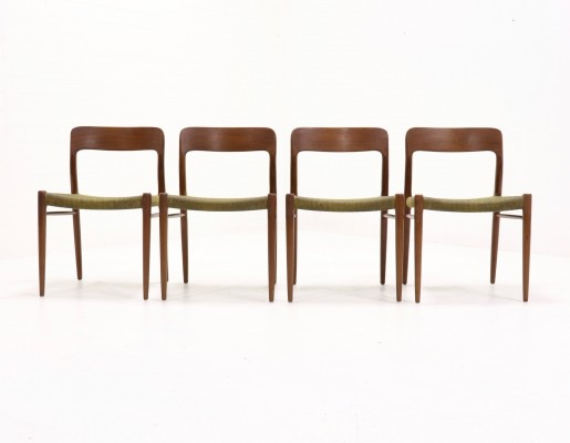 Set of 4 Teak No.75 Dining Chairs by N.O. Møller 1960s