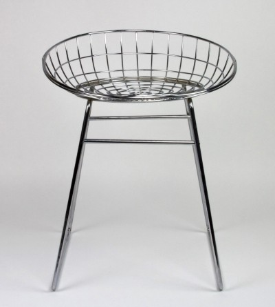 Model KM05 chromed steel stool by Cees Braakman for Pastoe, 1958