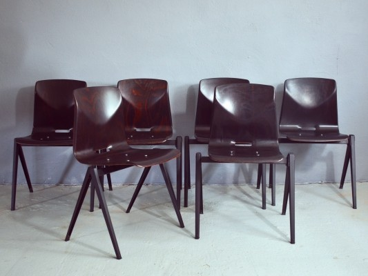 Set of 6 Galvanitas S22 Thur-Op-Seat chairs