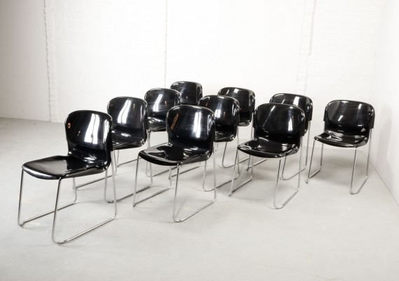 Set of Black Stackable Dining Conference Chairs by Gerd Lange for Drabert, 1980s