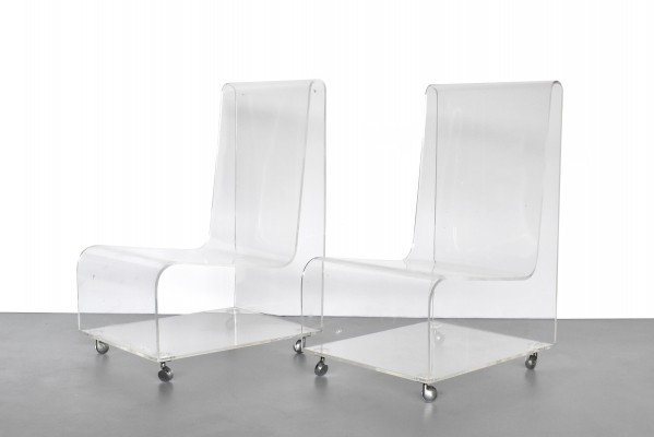 Set of 2 plexiglass lounge chairs by Danilo Silvestrin for Kartell, 1970s