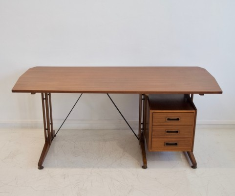 Italian Writing Desk in Teak & Painted Metal