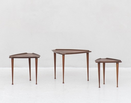 Set of triangular shaped nesting tables by Poul Jensen, Denmark 1960