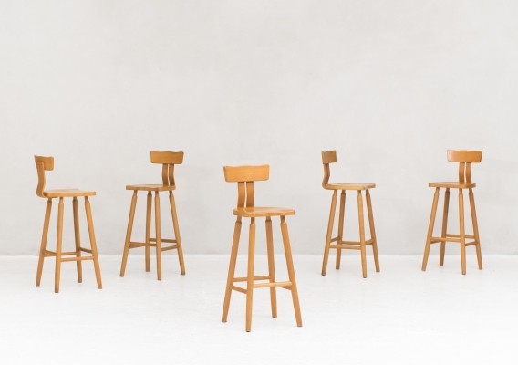 Set of 5 bar stools, Netherlands 1960s