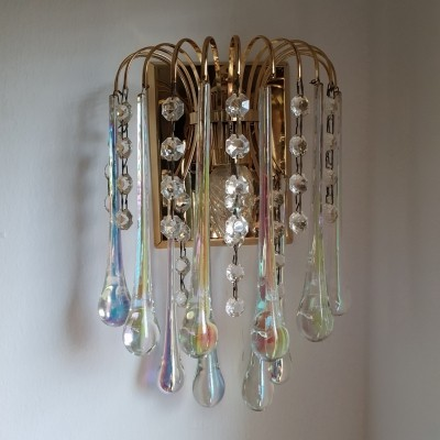 Gilt brass wall lamp with Murano glass teardrops by Paolo Venini