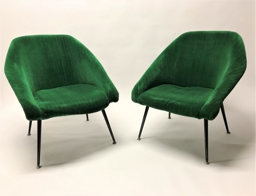 Mid century green velvet cocktail chairs, 1960s