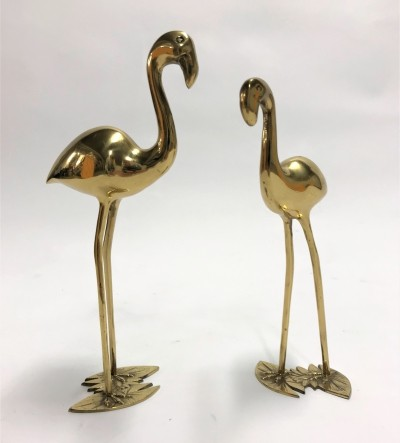 Pair of Vintage brass flamingos, 1970s