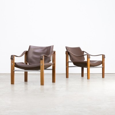 Pair of Maurice Burke 'safari' leather lounge chairs for Arkana, 1980s