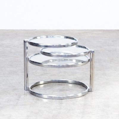 70s adjustable round glass coffee table
