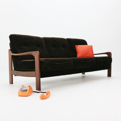 1970s Three Seat Sofa with Chocolate Brown Velvet Covers
