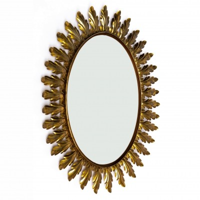 Large oval midcentury floral leaf brass wall mirror, 1950s