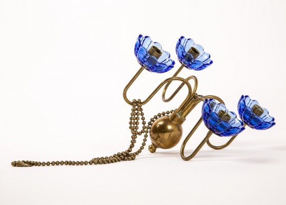 Gunnar Ander blue glas & copper pendant candelabra with long chain