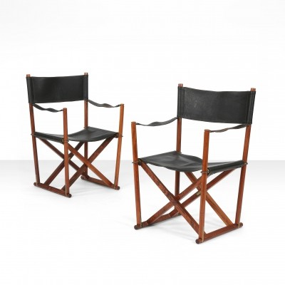 Pair of Mogens Koch 'MK 16' foldable armchairs, Denmark 1932