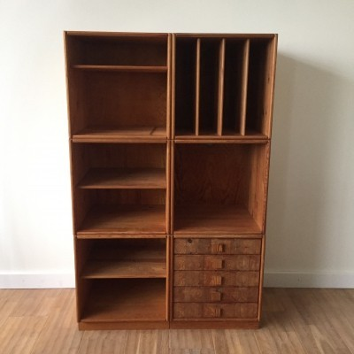 Pine wood Scandinavian design cubes storage system with drawers