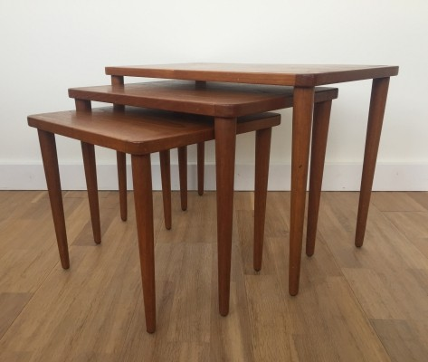 Danish design set of three nesting tables in teak wood