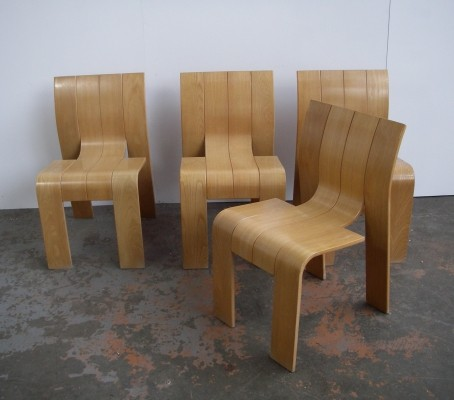 Set of 4 Strip dining chairs by Gijs Bakker for Castelijn, 1970s
