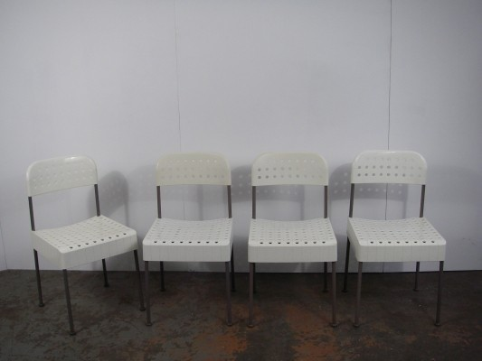 Set of 4 The Box dinner chairs by Enzo Mari for Castelli, 1960s