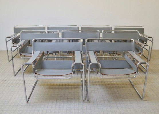 9x Vintage Gavina B3 'wassily' chairs by Marcel Breuer