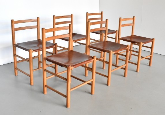 Set of 6 dinner chairs by Ate van Apeldoorn for Houtwerk Hattem, 1970s