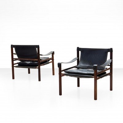 Pair of Arne Norell Sirocco Safari Chairs in Rosewood & Leather, Sweden 1964