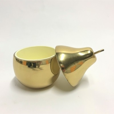 Vintage brass pear ice bucket made in italy, 1970s