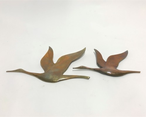 Vintage copper bird sculptures, 1970s