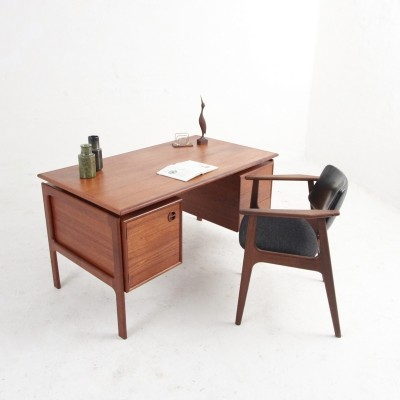 Danish midcentury desk with drawers & a cabinet