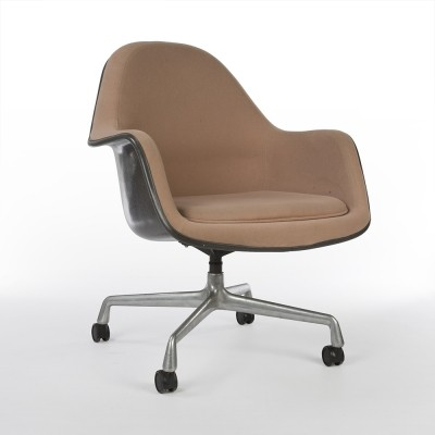 Cream Eames EA178 Loose Cushion Arm Chair with Castor Base