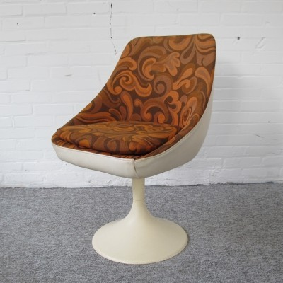 Vintage Swivel lounge chair in leather & retro fabrics, 1970's