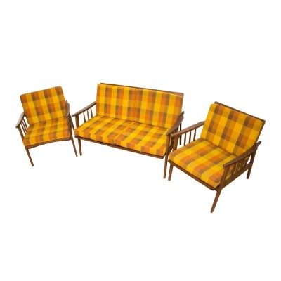 Scandinavian style two-seater sofa & two armchairs, 1960s