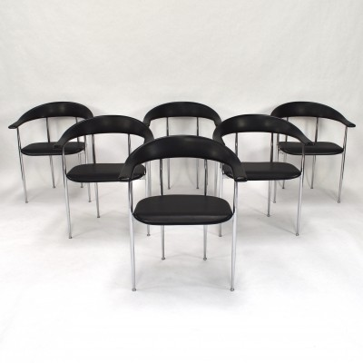 Set of 6 P40 dining chairs by Giancarlo Vegni & Gianfranco Gualtierotti for Fasem, 1980s