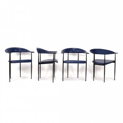 Set of 4 P40 dinner chairs by Giancarlo Vegni & Gianfranco Gualtierotti for Fasem, 1980s
