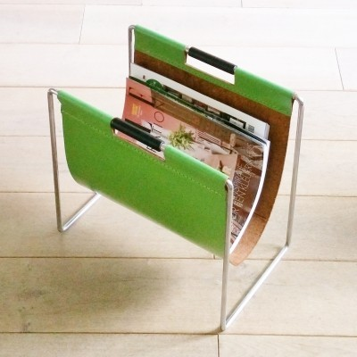 Green Leather Magazine Holder by Brabantia, 1970s